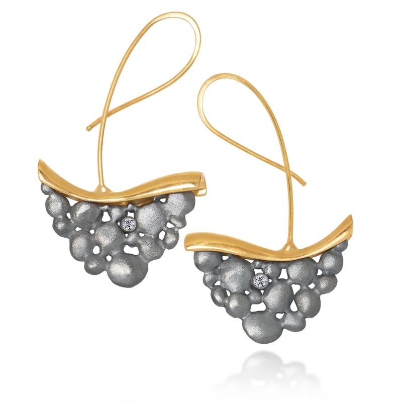 Dancing Light Earrings /Gold, Silver & Diamonds/ - Aleksandra Vali -  Eclectic Artisans