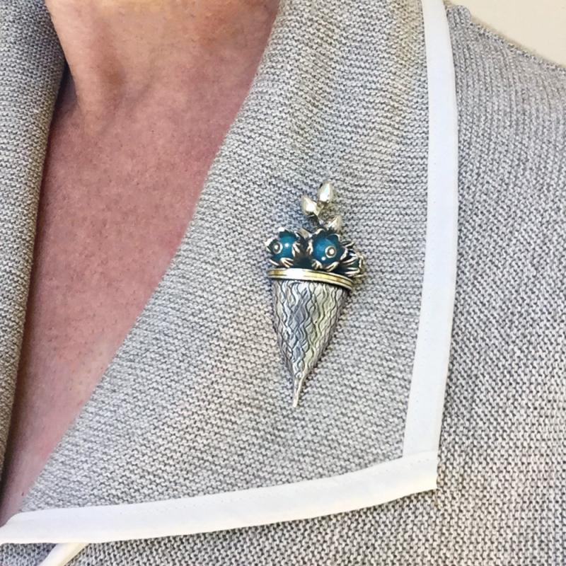 Bromeliad Brooch Pendant - Pam Fox -  Eclectic Artisans