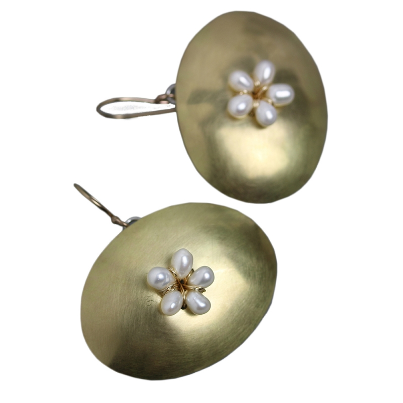 Gold Ovals and Pearl Flower Earrings - Wendy Stauffer -  Eclectic Artisans