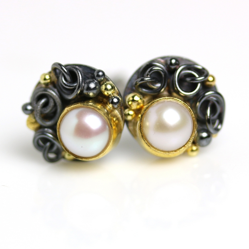 Pearls Earrings with French Knots and Gold Dots - Wendy Stauffer -  Eclectic Artisans