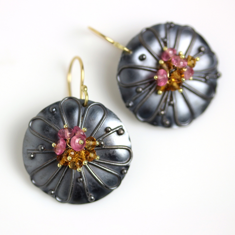 Daisy Disc Earrings with Gemstone Clusters -   -  Eclectic Artisans