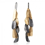 Small Curly Bark Earrings 6, Black and gold - Lori Gottlieb -  Eclectic Artisans