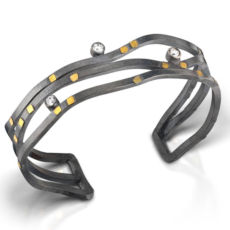 Wave Bracelet with Cubic Zirconium - Lori Gottlieb -  Eclectic Artisans