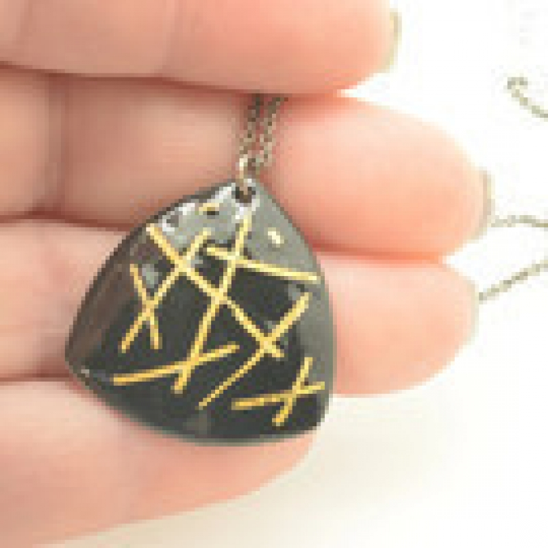 Black and Gold Stripes Triangle Necklace - Lara Ginzburg -  Eclectic Artisans