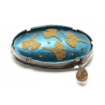 Botanical Blue and Gold Gingko Oval Brooch.  - Lara Ginzburg -  Eclectic Artisans