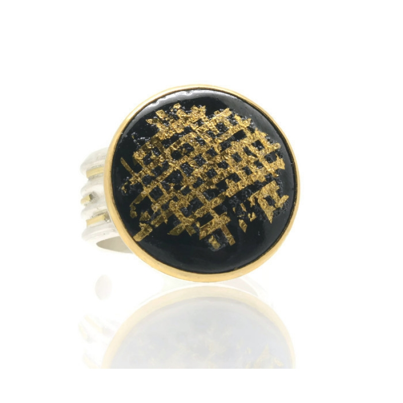 Black and Gold Stripes Medium Ring - Lara Ginzburg -  Eclectic Artisans