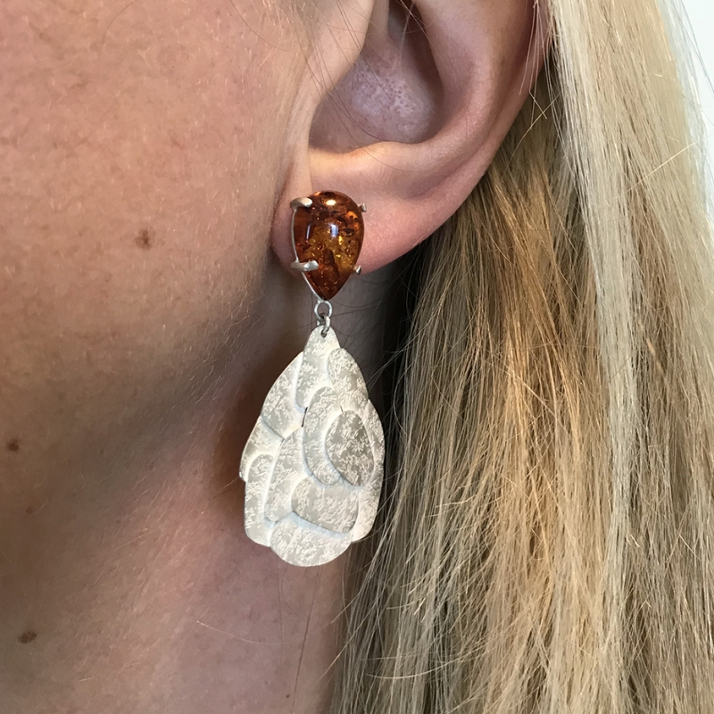 Amber Map Earrings - Kate Bajic -  Eclectic Artisans