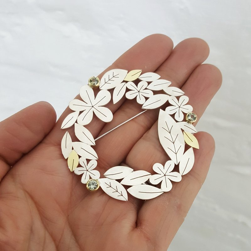 Leaves and Flowers Brooch - Diana Greenwood -  Eclectic Artisans