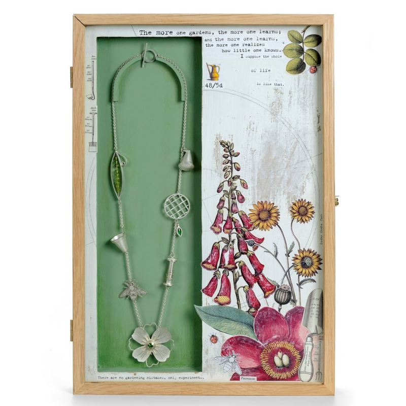 The more one gardens…Mantel box containing a garden-inspired silver necklace - Diana Greenwood -  Eclectic Artisans