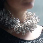 "Artficial paper Necklace / Ruff ""Meandering Words"" - Christine Rozina -  Eclectic Artisans"