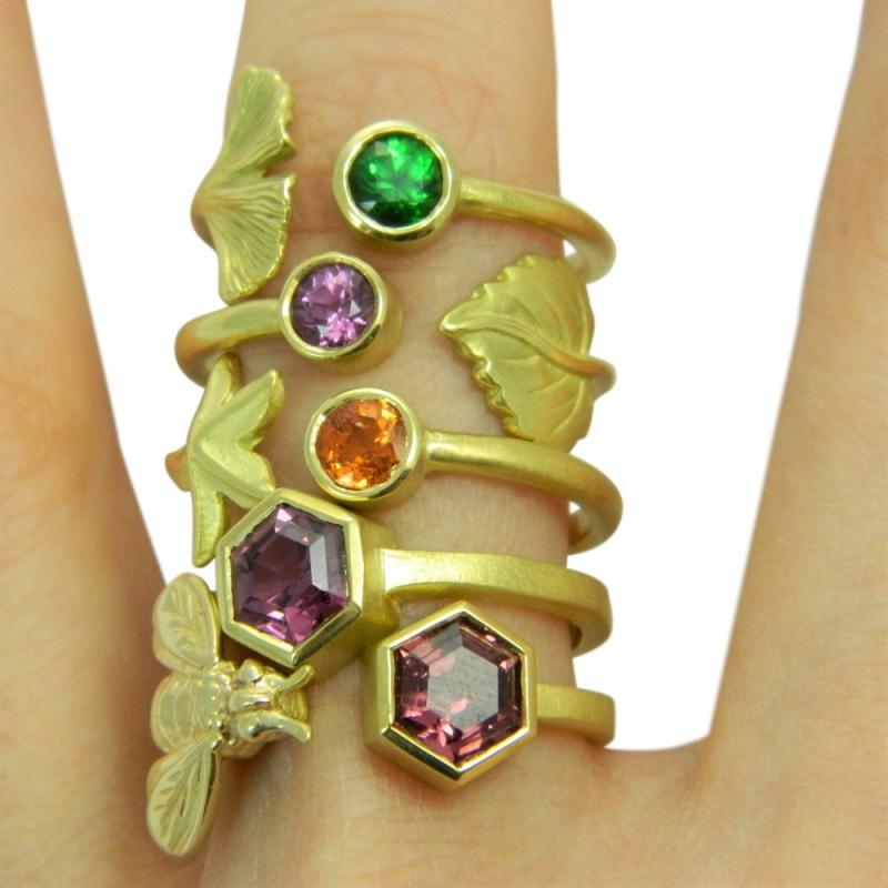 Bee Hexagon Open Ring - Alison Nagasue -  Eclectic Artisans