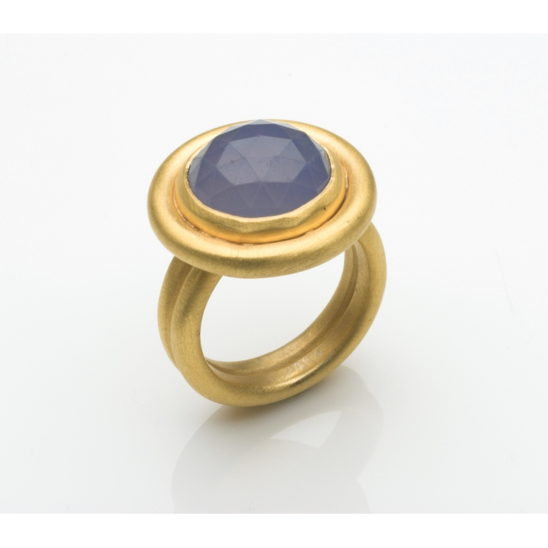 Rose Cut Chalcedony Halo Ring - Naomi Tracz -  Eclectic Artisans