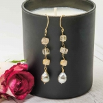 18ct Gold Rutilated Quartz and Tahitian Pearls Long Earrings - Catherine Marche -  Eclectic Artisans