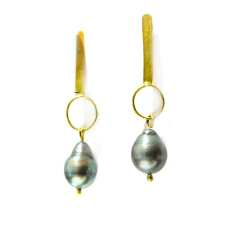 Asherah Baroque Tahitian Black Pearls Gold Earrings - Catherine Marche -  Eclectic Artisans