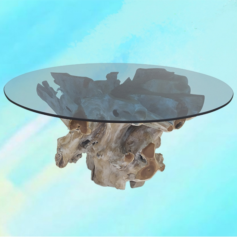 """Round Teak Root Coffee Table 40"""" - Palms  Oasis -  Eclectic Artisans"""