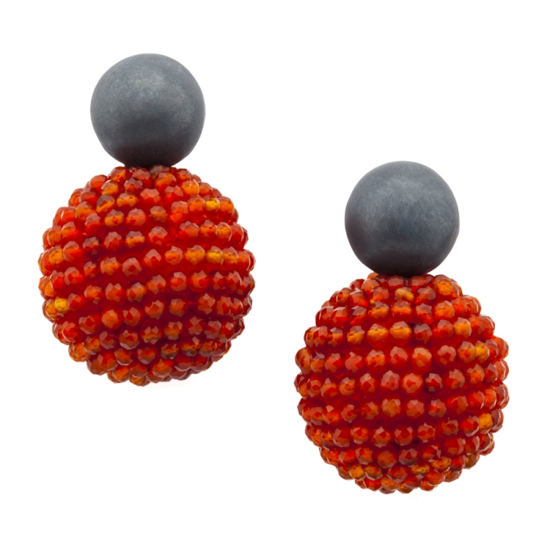 Carnelian Orb Earrings - Julie Long Gallegos -  Eclectic Artisans