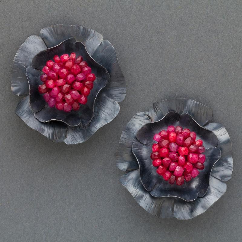 Ruby Tudor Rose Earrings - Julie Long Gallegos -  Eclectic Artisans