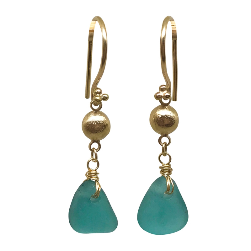 Teal Green Seaglass and Gold Earrings -   -  Eclectic Artisans
