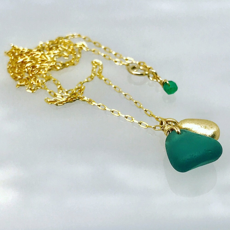Green Seaglass Charm Necklace - Kriket Broadhurst -  Eclectic Artisans
