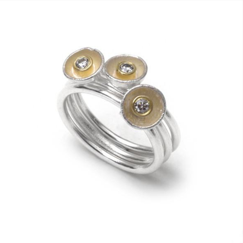 3 Acorn Cup Ring Stack with Diamonds - Shimara Carlow -  Eclectic Artisans