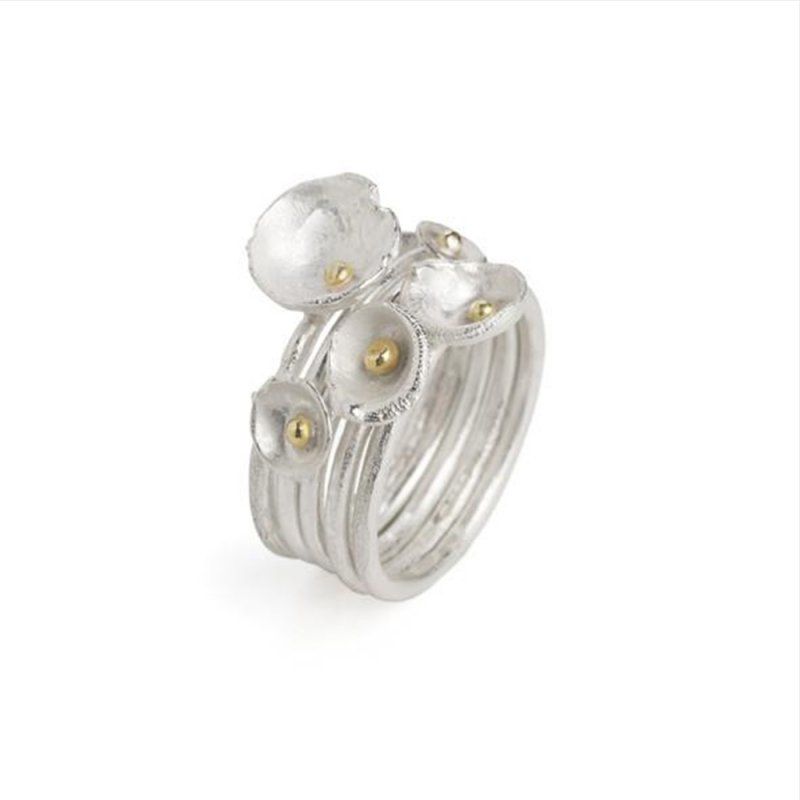5 or 3 Acorn Cup Ring Stack - Shimara Carlow -  Eclectic Artisans
