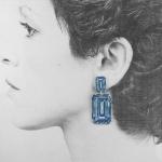Rocks Earrings - Medium Double Blue Diamond - Anna Davern -  Eclectic Artisans