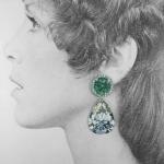 Rocks Earrings - Medium Round Green Pear Diamond - Anna Davern -  Eclectic Artisans