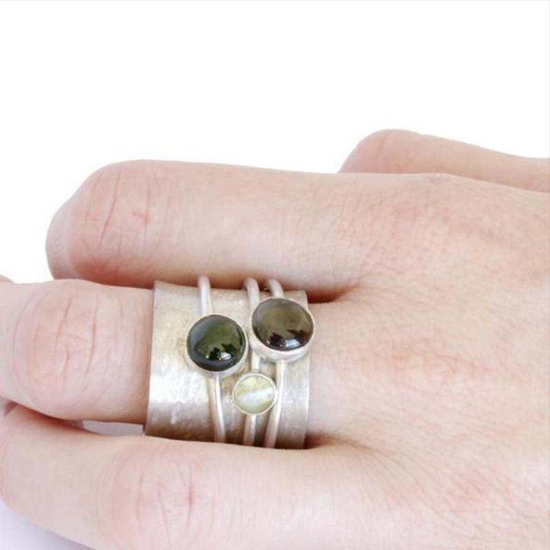 Three Stone Spinner Ring - Katherine Grocott -  Eclectic Artisans