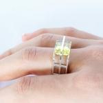 Rectangle Rivet Ring - Lemon Quartz - Katherine Grocott -  Eclectic Artisans