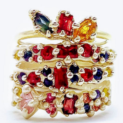 Sapphire & Ruby Rings. Wear Stacked or Solo!